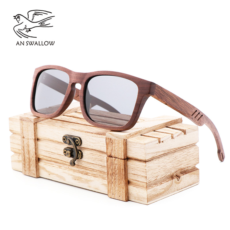 New bamboo and wood glasses retro wooden Sunglasses coated with gray lenses and anti-ultraviolet sunglasses for men and women