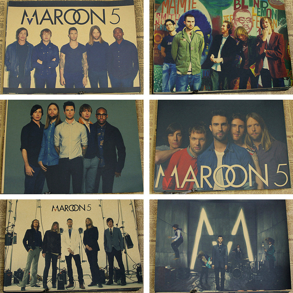 Maroon 5 Adam Levine Band Combine Kraft Paper Poster wall sticker