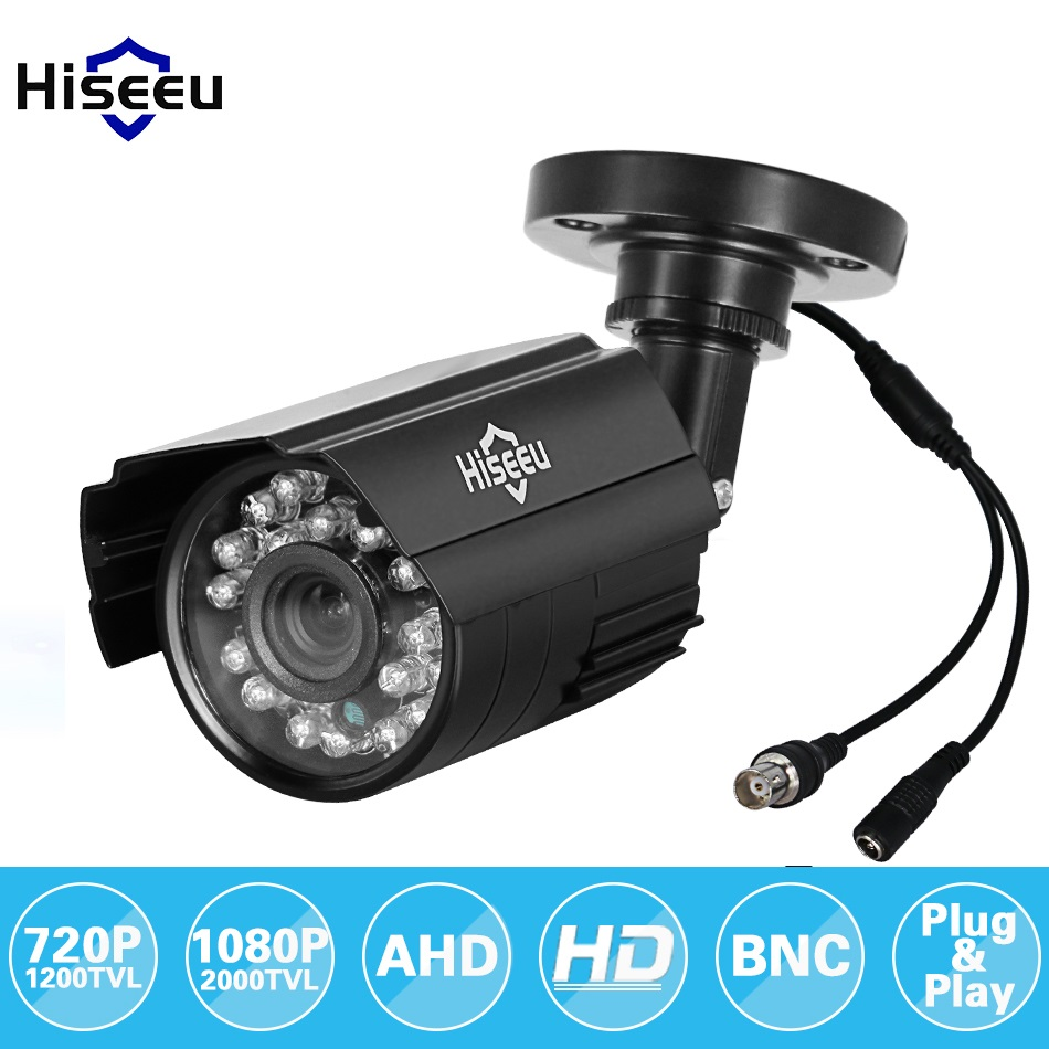 Hiseeu 720P 1080P AHD Camera Metal Case Outdoor Waterproof Bullet CCTV Camera Surveillance Camera for cctv DVR system Security wistino metal housing cover case new ip66 cctv camera outdoor use casing waterproof bullet for ip camera hot sale white color
