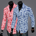 Известный Бренд Весной и Осенью Мужчины Slim Fit С Длинным Рукавом Luxury Leisure печать Мужской Формальные Стильная Рубашка Camisetas D14