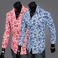 Famoso Primavera Marca e Outono Homens Slim Fit Camisa de Manga Longa de Lazer de Luxo impressão Masculino Camisa Formal Elegante Camisetas D14