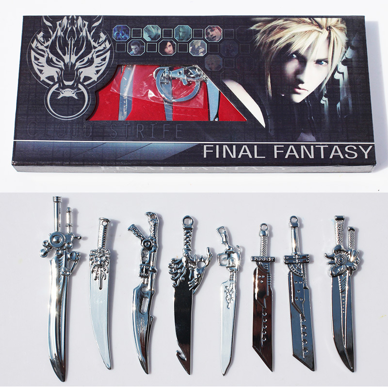 8pcs/lot Anime Final Fantasy Sword Metal Weapons Toys With Box Free Shipping khs khs khs enfs lk