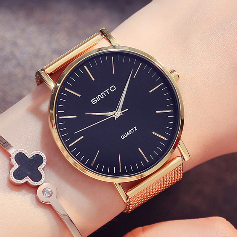 GIMTO Brand Luxury Rose Gold Women Watches Clock Dress Steel Bracelet Lovers Quartz Wristwatch Female Sport Watch Relogio Montre 2017 luxury brand gimto sport watches women leather ultra slim gold quartz watch male female clock relogio feminino montre gift