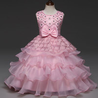 Fancy Beautiful Sequined Rhinestone Little Girl Wedding Dress Gown Kids Appliques Beading Party Prom Evening Dress
