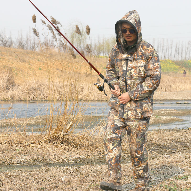 Cotton Summer Autumn Maple Leaf Fishing Suit with Anti-mosquito Breathable Sunscreen Fishing Clothes Bionic Camouflage Clothing 2017 new daiwa fishing clothes long sleeve breathable sunscreen anti mosquito ultrathin summer dawa daiwas free shipping