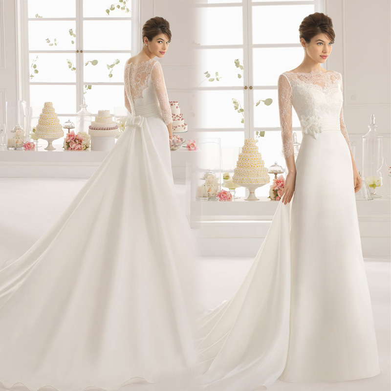 White Lace Tulle Long Wedding Dress Bridal Gown: 2015 New White Goddess Bow Wedding Dresses Gown With Long
