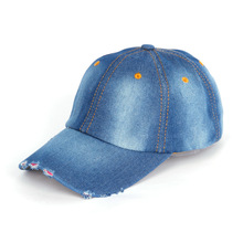 women simple design  cotton  blue girls denim baseball cap