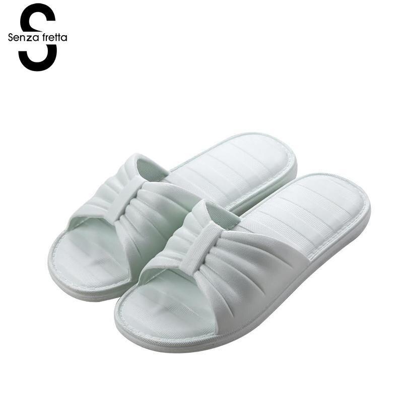 Senza Fretta Women Shoes New Summer Pvc Slippers Couples Women Anti-slip Home Slippers Indoor Soft Bottom Women Slippers new 2017 anti slip women indoor slippers