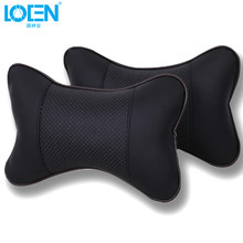 LOEN 2pcs Car Neck Pillow Perforating Design PU Leather Hole-digging Car Headrest pillow Auto Safety Headrest Car Seat Cover(China)