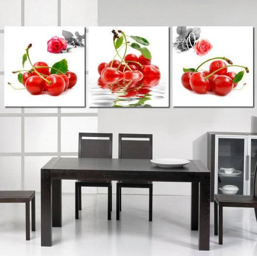 3 pannelli cucina moderna frutta ciliegia pitture murali pittura decorativa domestica di illustrazioni pittura stampe su