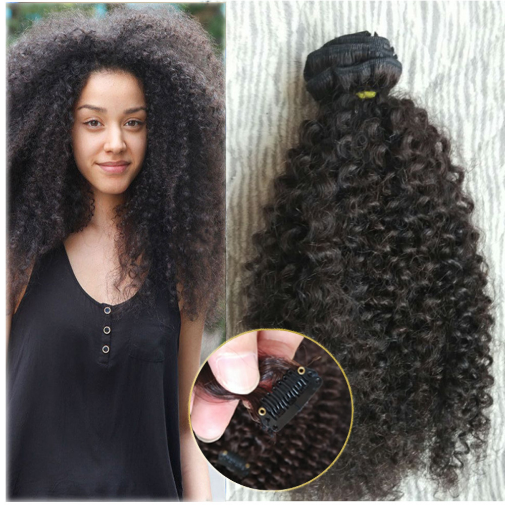 Natural Mongolian Kinky Curly Hair Clip In Hair Extensios