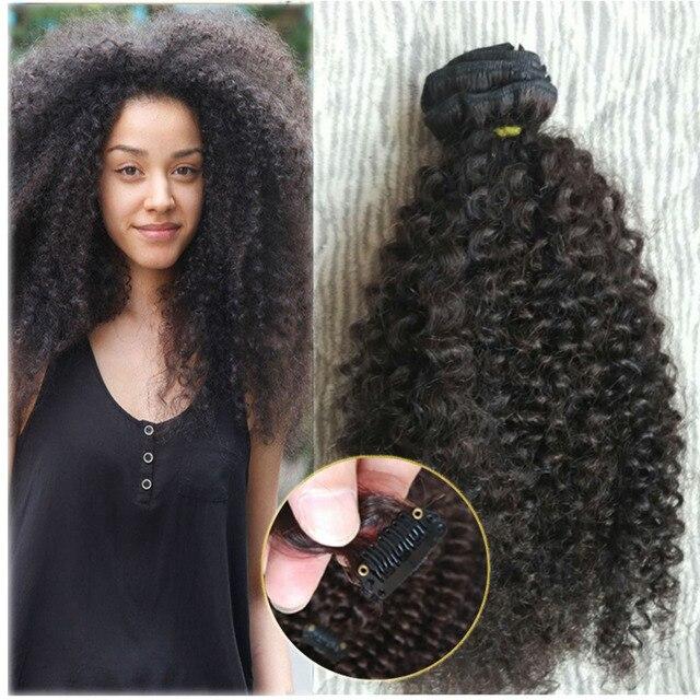 Natural Mongolian Kinky Curly Hair Clip In Hair Extensios 9pcs Clip