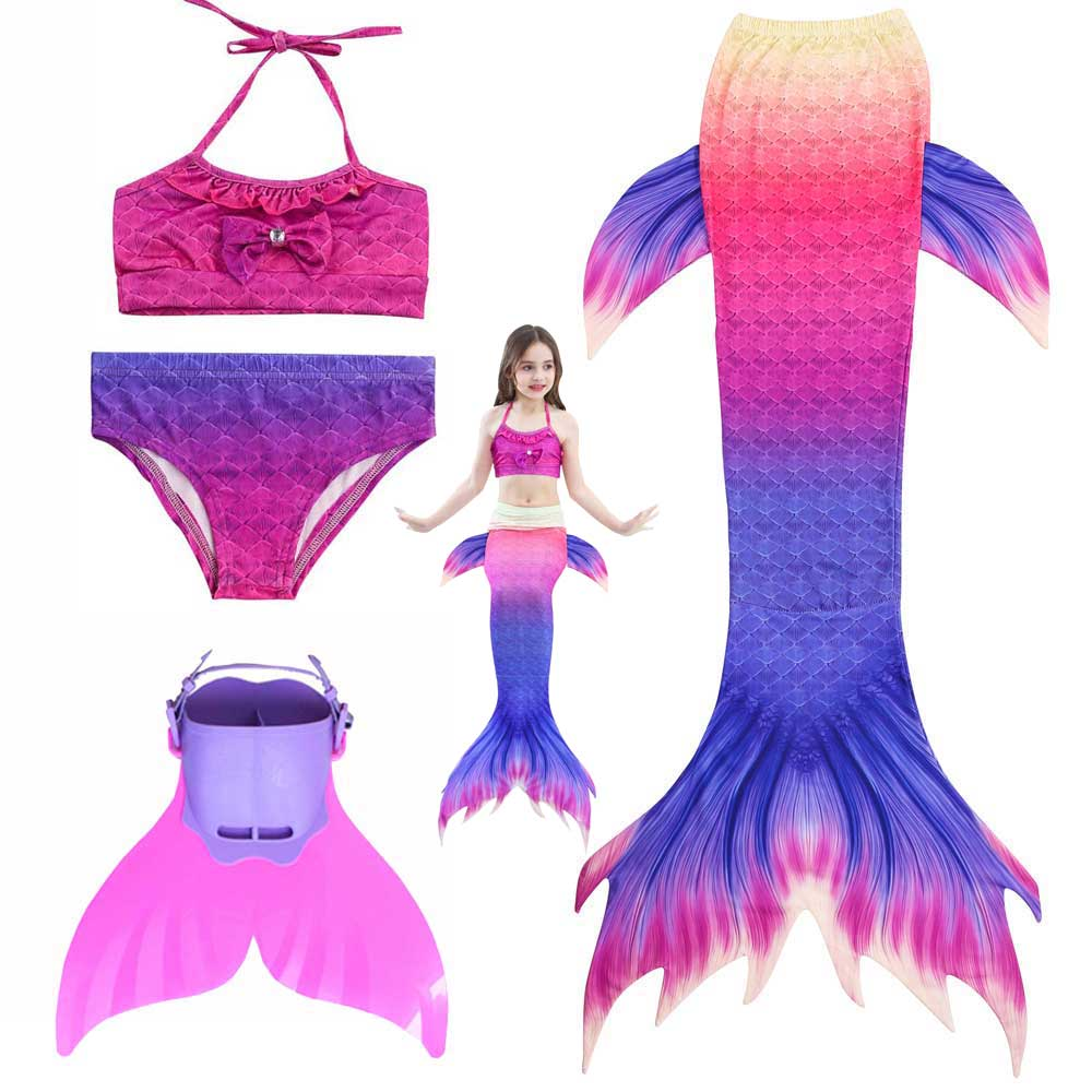 Girls The Little Of Mermaid Tails Costume For Swimming Or Party Swimmable Mermaid Sparkle Tail Swimsuit And Monofin Fin