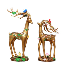 2PCS Couple Deer Model Crafts Resin Figurine Luxury Animal Ornaments Home Wedding Party Decor Gifts Figurines 2019 New Toy