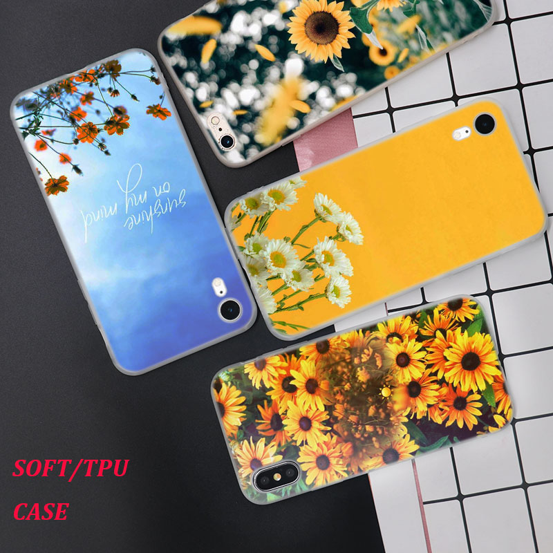 Silicone Case Sunfowers fantasy show Printing for iPhone XS XR Max X 8 7 6 6S Plus 5 5S SE Phone Case Matte Cover image