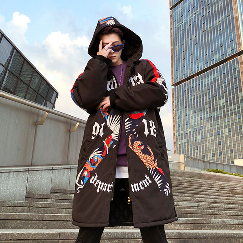 Mens Trench Coat Autumn Winter Thick Men Long Coat High Street Hip Hop Graffiti printing Windbreaker