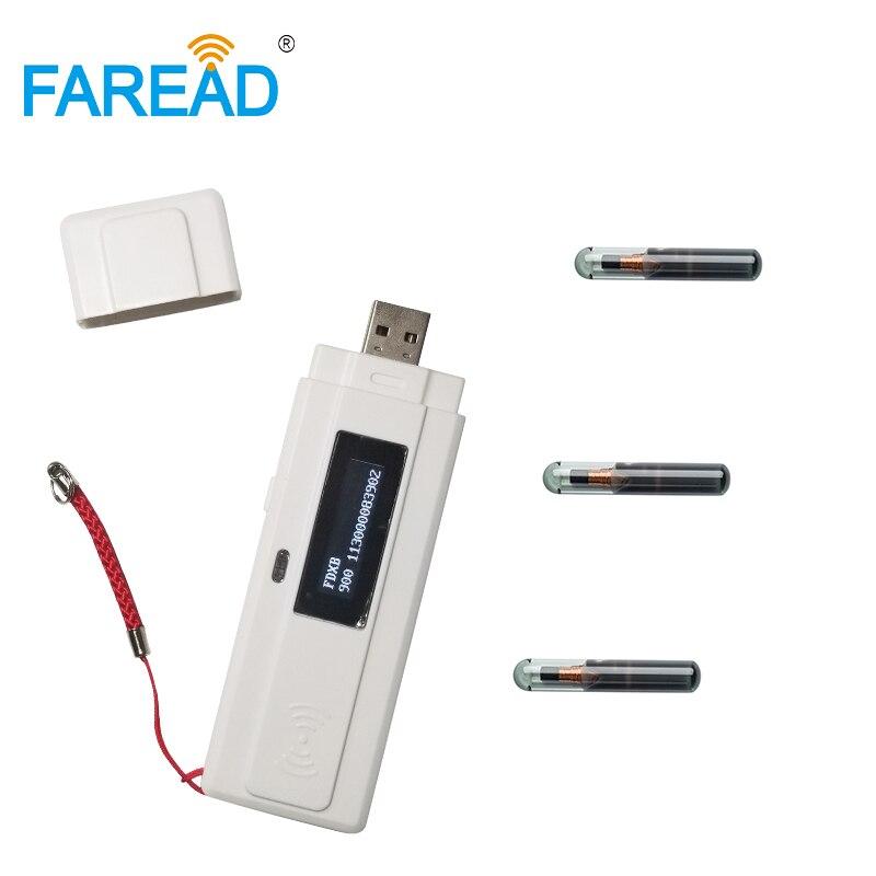 Free Shipping X2pcs Free Sample Microchip Glass Tag For Test+ X1pc 134.2khz RFID USB Mini Portable Scanner/Animal Pet ID Reader