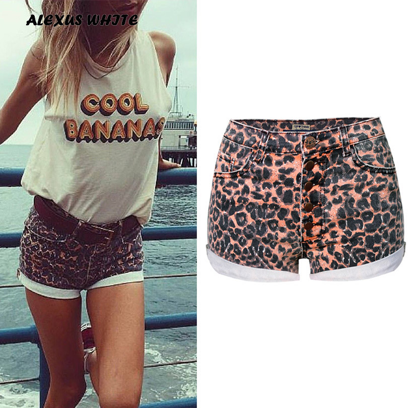 Boot Cut Jeans Shorts Female 2018 Summer Womens Curling Stretch Denim Shorts XXXL Leopard Trend Wild Shorts