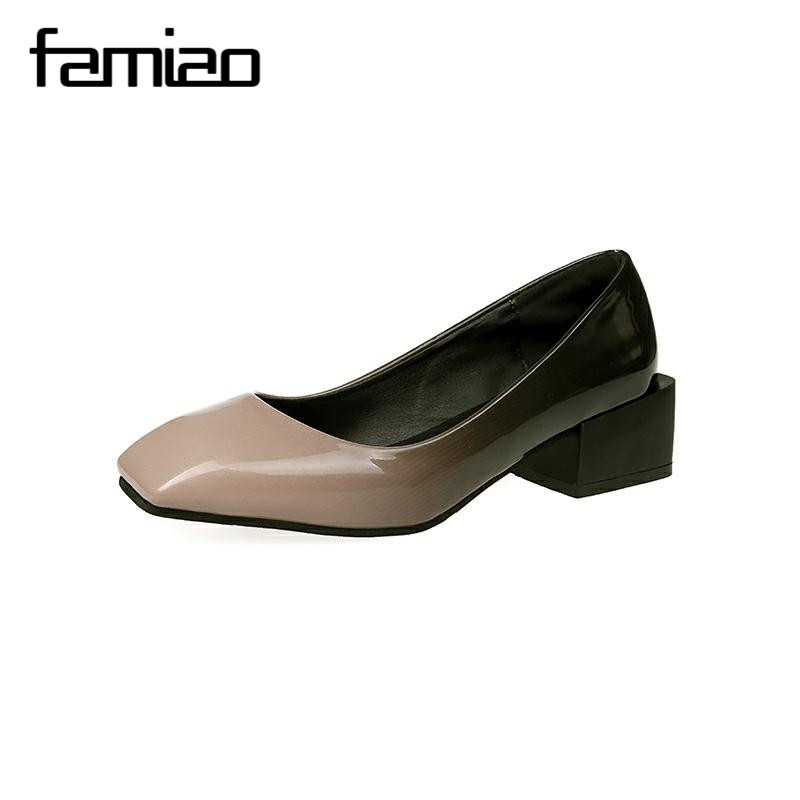 FAMIAO women pumps patent leather stiletto med  heels shoes Spring Summer Wedding Shoes woman square toe 2017 zapatos mujer