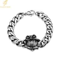 Tiger Totem Punk Style 316L Stainless Steel men Bangle Classical Biker Bicycle Link Chain Jewelry Owl Bracelet Men Free Shipping