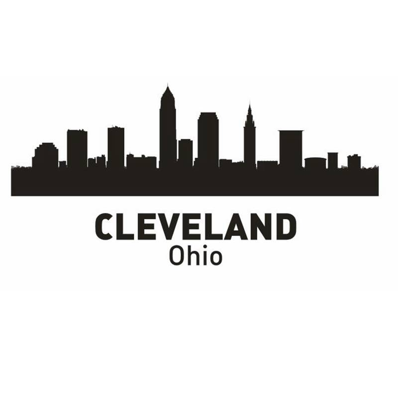 DCTAL CLEVELAND City Decal Landmark Skyline Wall Stickers Sketch Decals Poster Parede Home Decor Sticker