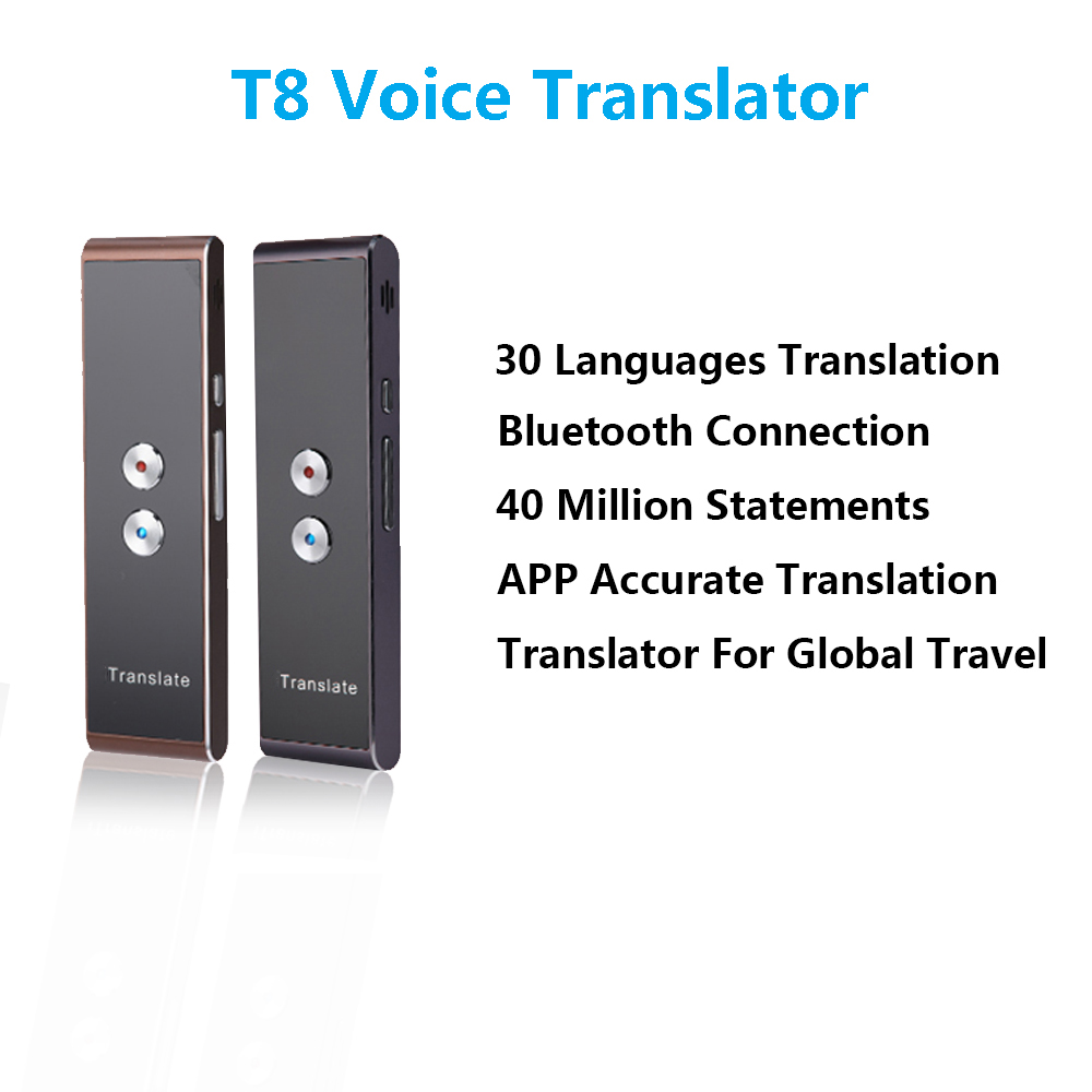 T8 Portable Smart Voice Translator Two-Way Real Time Multi-Language Translation For Learning Travelling Meeting T8 translator voice translator two way translation real time multi language translator simultaneo spanish english french russian translation