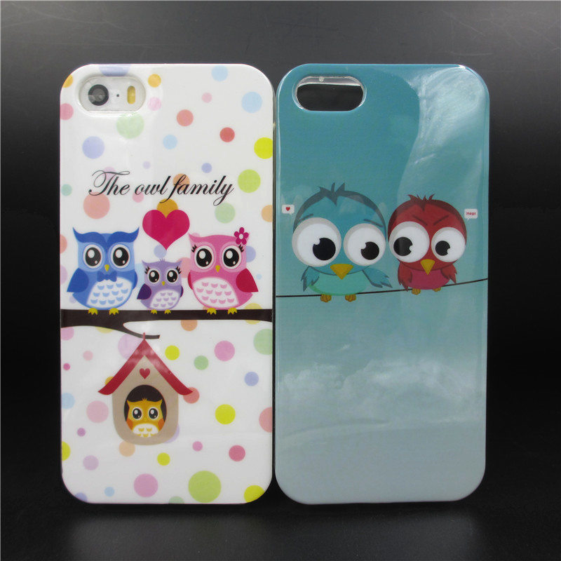 Hot sale Cartoon Lovely Lovers Bird owl pattern phone case covers for apple iphone 5s 5 5G TPU Soft Protective shell CSJK1250