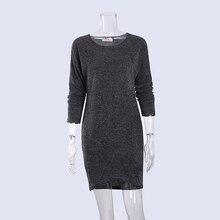 Зимний свитер платье для женщины вязаный длинный рукав круглый Средства ухода за кожей Шеи Для женщин Мини-платья работы карандаш основные Повседневное Vestidos 2018 ws3757w