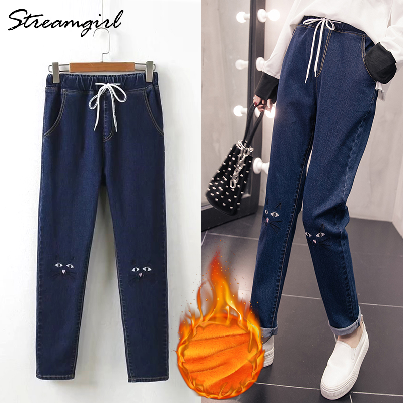 Winter Jeans Women Warm Pants Womne's Plus Size Embroidered Jeans With Elastic Band Denim Velvet Warm Jeans Corduroy Feminino