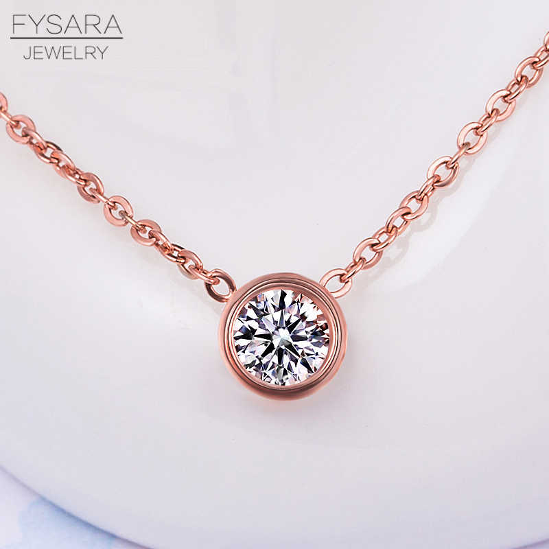 FYSARA Simple Cute Tiny Round Circle Crystal Pendant Necklace Stainless Steel Fashion Jewelry Women Classic Love Short Necklaces