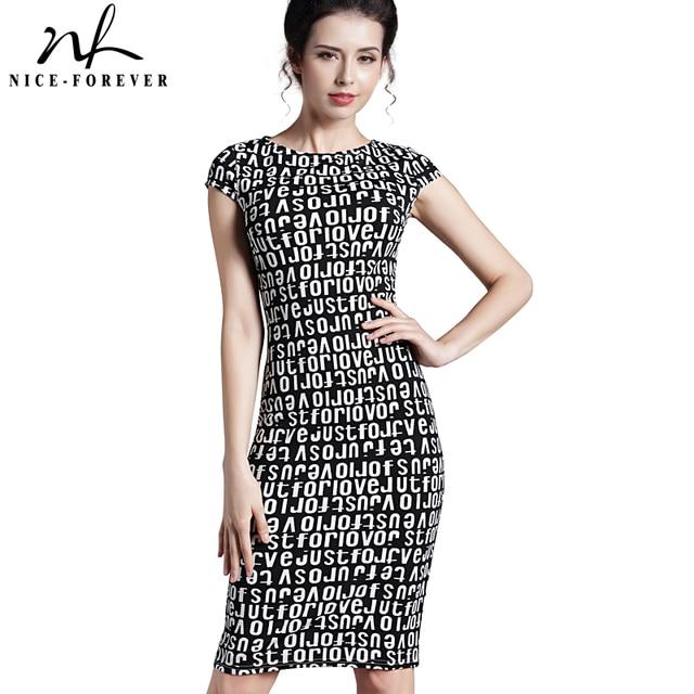 Nice-forever Office Work Dress Elegant Short Sleeve Women O Neck Fashion Sheath Casual Pencil Female Formal Summer Dress B227