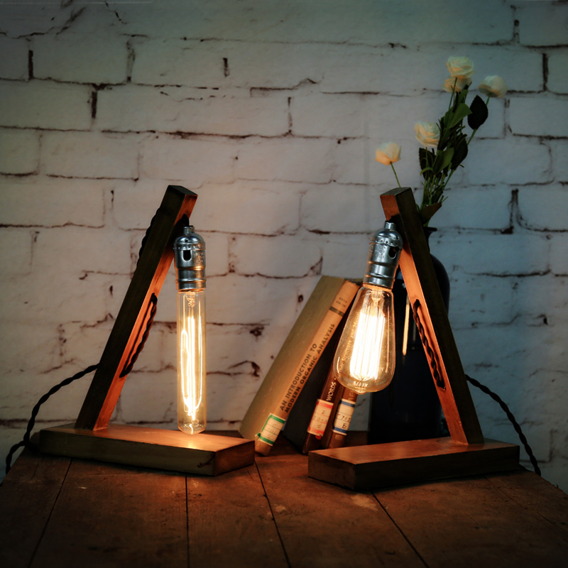Table lamp loft Edison real wood creative personality old Lamp Retro Cafe book desk lamp GY175