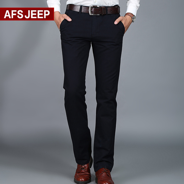 AFS JEEP Brand Men Pants Slim Business Casual Trousers Cotton Casual Modern Pantalones Hombre Social Masculina  6 colors