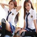 Uniformes de marinero de manga corta T-shirt + pieza falda equipada Sexy uniformes escolares niñas japonesa del Anime de Cosplay desgaste 2016