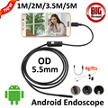 5.5mm OD Endoscópio Câmera USB OTG Android 5 M 3.5 M 2 M 1 M Tubo Flexível Cobra À Prova D' Água inspeção USB Câmera Borescope Andorid
