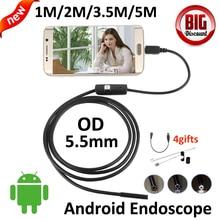 5.5mm OD Endoscopio USB OTG Android Cámara 5 M 3.5 M 2 M 1 M 720 P Tubo de La Serpiente MicroUSB de inspección Impermeable Boroscopio Cámara Andorid