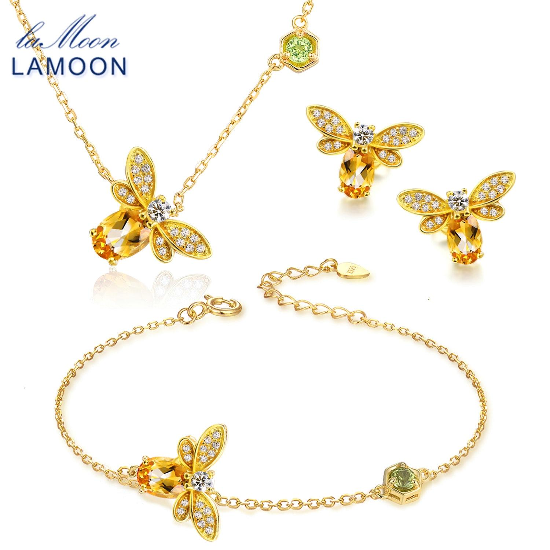 LAMOON Bee 5x7mm 1ct 100% Natural Citrino 925 sterling-silver-gioielli Insieme Dei Monili V027-6