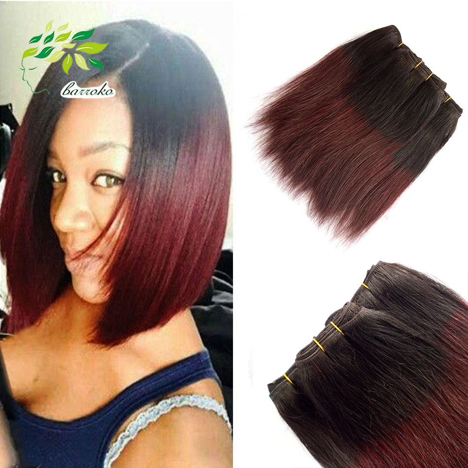 7a Unprocessed Virgin Hair 8 Inch Burgundy Weave Malaysian