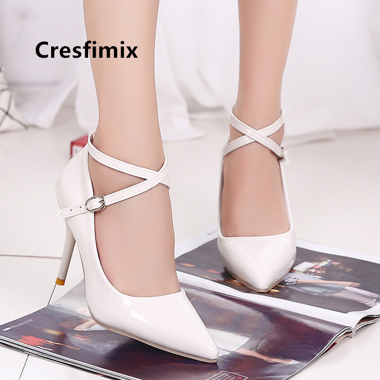 Cresfimix Szpilki Damskie Women Cute Sweet Comfortable White High Heel Shoes Lady Classic Black Heels Female Office Shoes B5471