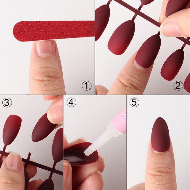 24pcs Matte Tips For False Nails