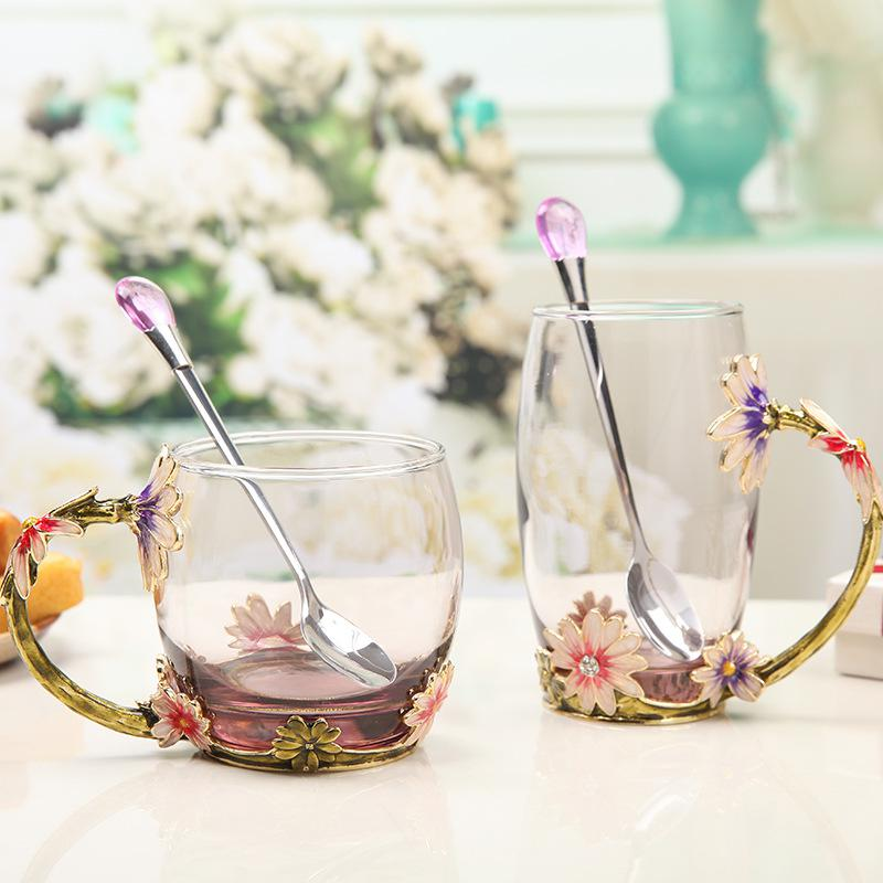 New Hand painted European Glass tea water cup drinking ...