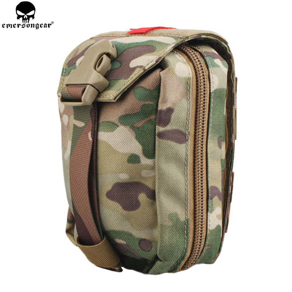 EMERSONGEAR Tactical First Aid Pouch Molle Kit Medical Bag Military Utility Pouch Paintball EDC Bag Multicam Black EM6368 tactical 1000d molle utility edc magazine bag waist bag dump drop pouch men outdoor sports medical first aid pouch