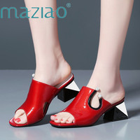 MAZIAO Women Sandals Spring Shoes Natural Genuine Square Heel Slippers Real Leather Crystal Party Shoes Ladies Red Size 34 39