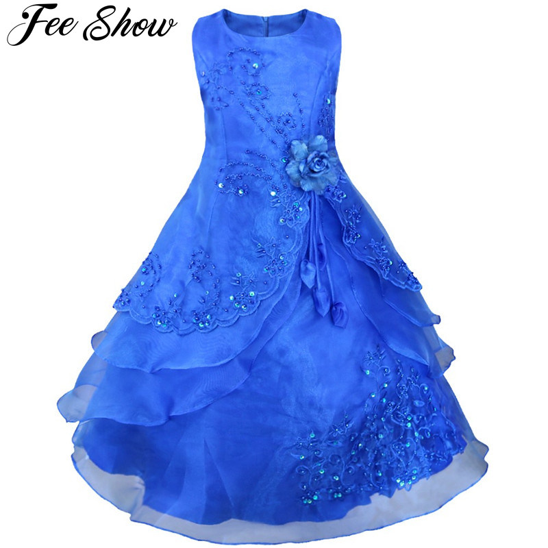 Kids   Flower     Girls     Dress   Embroidered Pageant Party Wedding Bridesmaid Ball Gown Prom Princess Formal Occassion Long   Dress   4-14Y