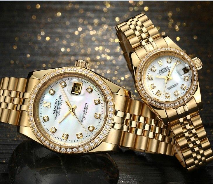 SANGDO молочно-белый циферблат Самовзводные движение высокое качество роскошные часы, пары покрытие 18KY механические часы 010 s