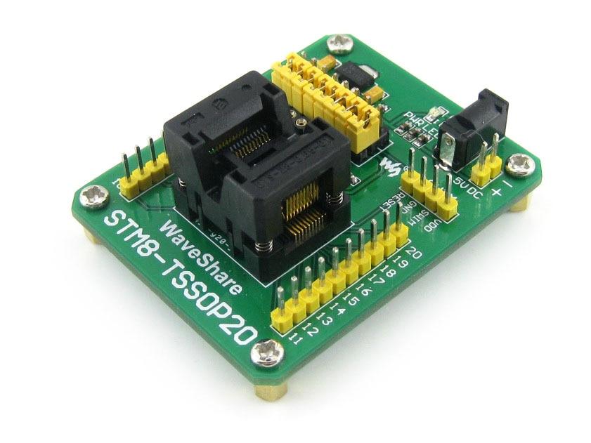все цены на  STM8-TSSOP20 STM8 STM8S Programming Adapter IC Test Socket for TSSOP20 Package 0.65mm Pitch with SWIM Port  онлайн