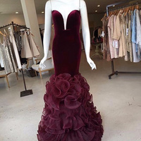 Sexy Long Mermaid Prom Gown Deep V Neck Sleeveless Floor Length Burgundy Wedding Party Dress