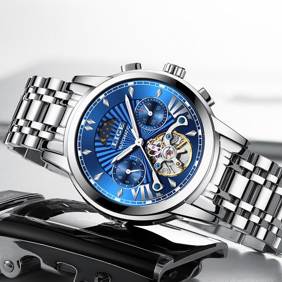 LIGE 2019 men's watches top brand luxury Gift business Automatic clock Tourbillon waterproof Mechanical watch relogio masculino