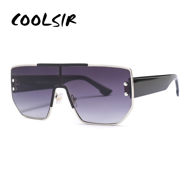 COOLSIR One Piece Sunglasses Men Steampunk Retro Square Women Fashion Shades UV400 Vintage Glasses