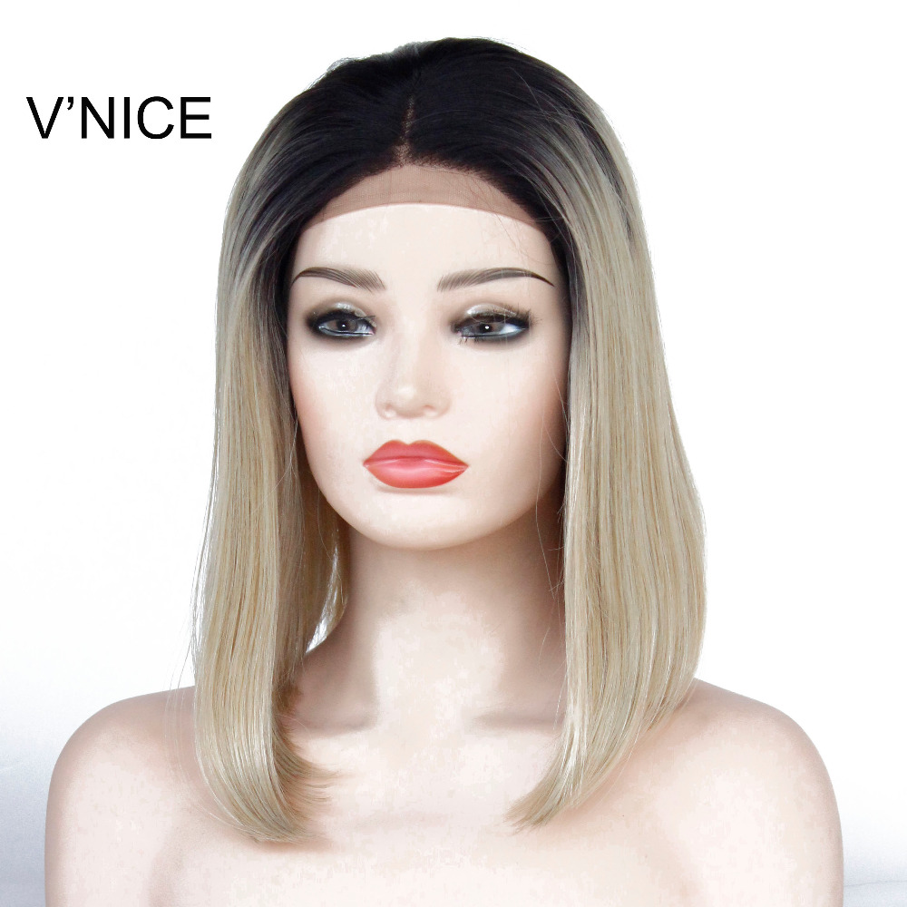 VNICE African American Bob Wigs Short 1B/27 Mixed 613# Ombre Golden Blonde Straight Synthetic Lace Front Wigs for Black Women